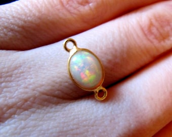 Ethiopian opal connector SUPERB SELECTED opals gold silver vermeil 7x9mm (15mm with loops), genuine natural not enhanced untreated