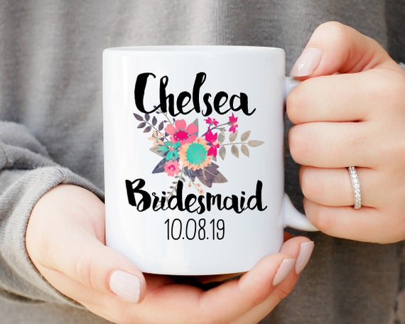 Personalized Bridesmaid Mug With Floral Pattern