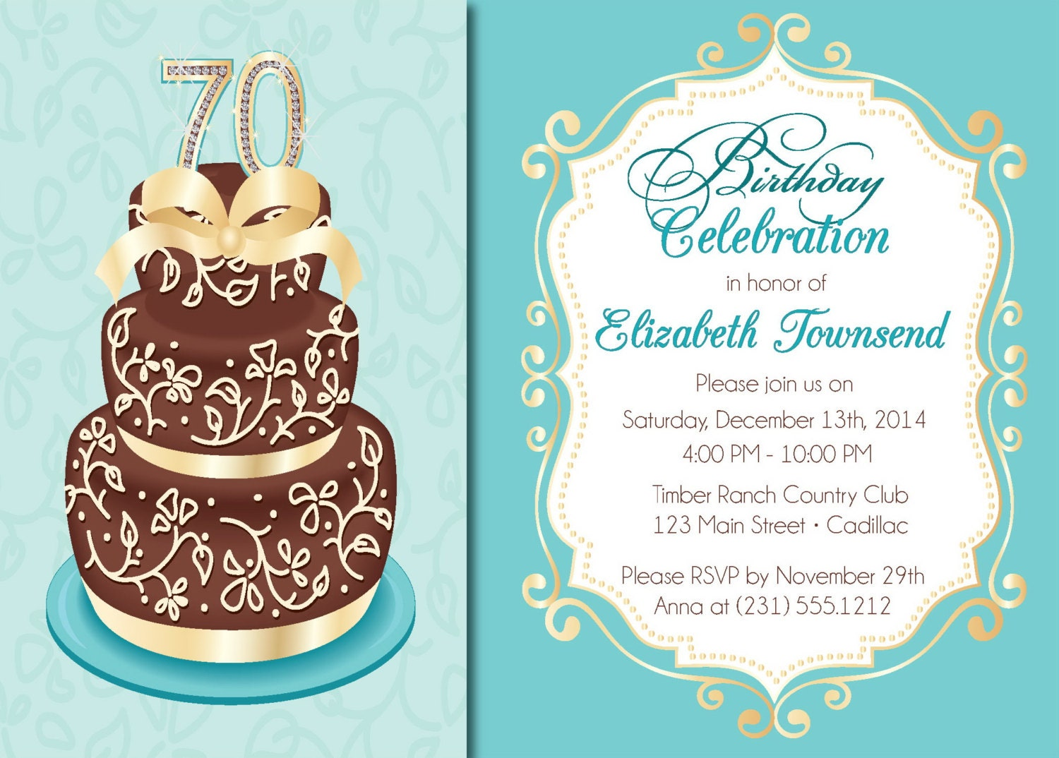 Elegant Birthday Cake Adult Birthday Party Invitations