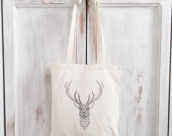 Canvas tote bag antlers deer gift geometric graphic
