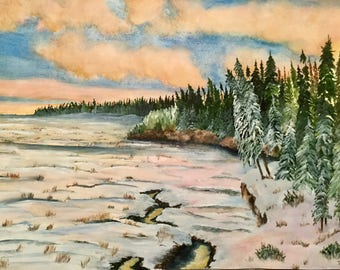 Lake Winnipeg Winter Sunrise - Original Watercolor
