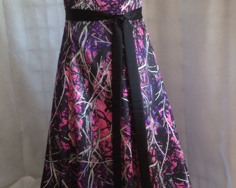 Camo Strapless Floor Length Aline Gown