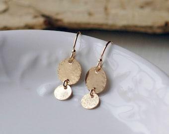 Dainty Dangle Earrings, Simple Gold Earrings, Silver Dangle Earrings, Everyday Minimal Earrings, Rose Gold Drop Earrings, S/S, 14k GF, RG