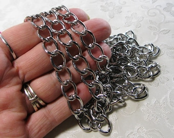 Large Antique Silver Heavy Cut Curb Flat Twist Chain 10mm x 14mm 362