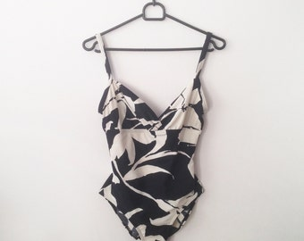 Leaves Bathing suit, European, black and white, 90s bathing suit, one piece bathing suit, vintage bikini, vintage bathing suit, swimwear