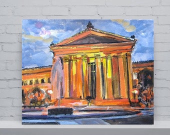 Philadelphia Painting. Art Museum Cityscape Fine Art Watercolor Print  orange yellow Philly Art, Framed Urban Painting by Gwen Meyerson