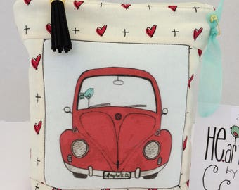 VW Bug HE.art by CC zippered Pouch   Stay wild with Ruby Wild