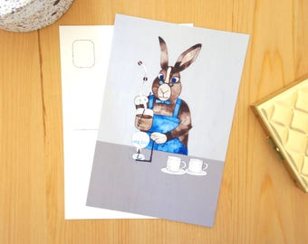 Coffee Card set- Rabbit, animal postcards, coffee lovers card, animal illustration, coffee art card, 4x6