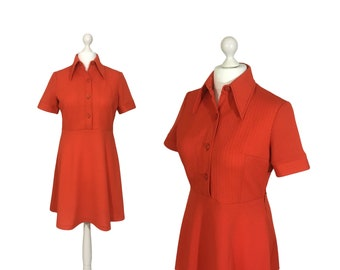 Red Mod Dress | UK 16 18 | 1970's Dress | 70's Dress | Tomato Red Vintage Shirt Dress