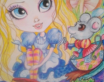 Alice and the Dormouse ACEO/ATC Artist Trading Cards By the Artist Leslie Mehl