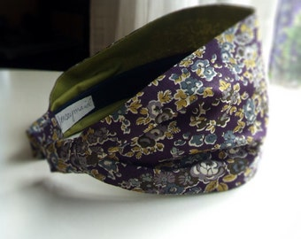 Liberty of London fabric headband cotton hairband for women plum purple with blue flowers romantic hairbands women