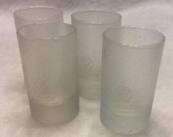 Vintage 1970's set of four frosted Jagermeifter shot glasses.