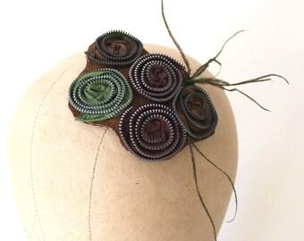 Plum Olive Green & Chestnut Zipper Rosette Feather Head Piece