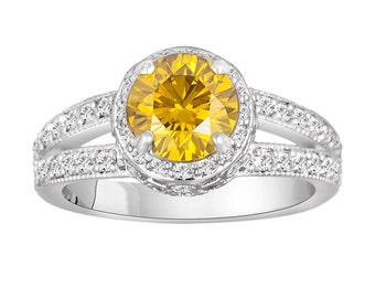 1.77 Carat Canary Yellow Diamond Engagement Ring Wedding Ring 14K White Gold Pave Set handmade Certified