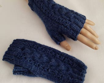 Womens Mittens - Ladies Fingerless Gloves - Hand Knitted Texting Gloves - Gifts for Her - Navy Blue Cable Design Gloves - Ready to Ship -