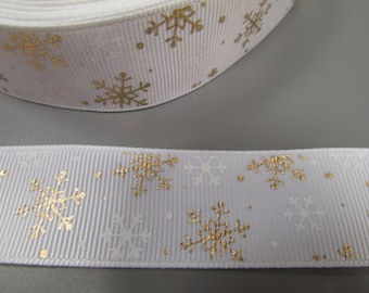 Gold and White Snowflake Christmas Grosgrain Ribbon x 1 metre
