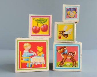 Vintage Children's Lithograph Nesting Blocks | Set of Five | Lungers Hausen Art | Made in Western Germany