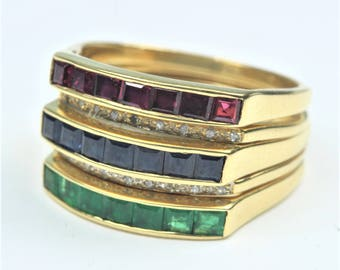 Art Deco Style 18ct Yellow Gold Diamond, Emerald, Ruby and Sapphire Stacking Ring Size: M 1/2-6 1/4