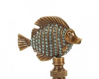 Fish Studded crystal antique Brass Lamp Finial aqua marine blue RARE