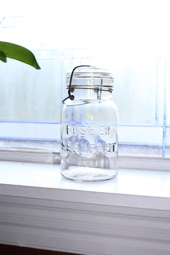 Foster Sealfast Mason Jar Quart with Glass Lid Vintage 1920s Canning Jar
