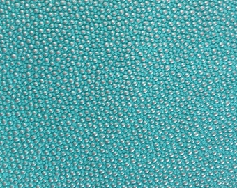 """Turquoise Silver Pebble Dotted Vinyl Fabric - Sold By The Yard - 53"""""""