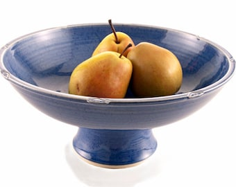 pottery fruit bowl, pedestal bowl, pottery salad bowl ceramic fruit bowl decorative bowl blue fruit bowl blue serving bowl, made to order