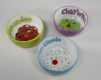 Personalized ceramic hand painted Ice Cream Bowl - flavor and color