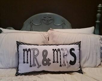 Made to order - Custom Mr & Mrs Applique pillow
