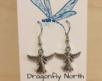 Angel earrings - guardian angel earrings - silver angel charm