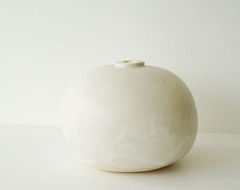 CERAMIC VASE Hand formed coil built with clay Modern Ceramics matte white glaze for floral arrangements Modern Pottery and Ceramics art vase
