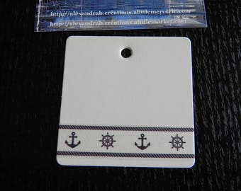 Navy collection: 1 label cardboard white 6 x 6 cm decorated masking tape