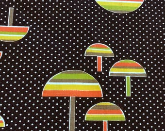 Mushroom Print Cotton Fabric  Brown Calico Cotton Fabric Mod Print