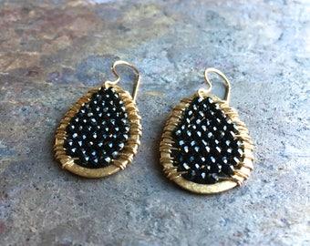 Black spinel gemstone gold hoop statement earrings
