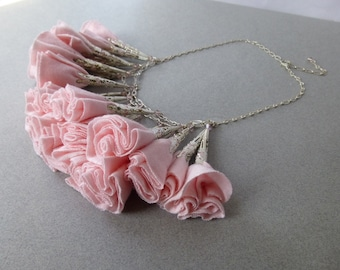 Pale Pink and Silver Fabric Rosette Statement Necklace