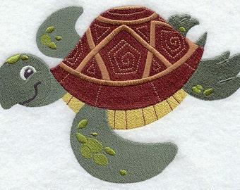 Smiling Sea Turtle Embroidered Flour Sack Hand/Dish Towel