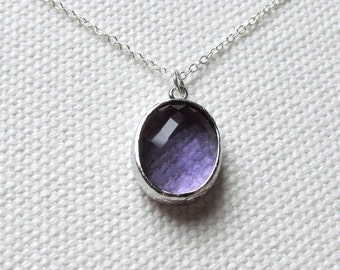 Purple Tanzanite Necklace, Silver  Chunky Glass Pendant Sterling Silver Chain, Minimalist Jewelry,