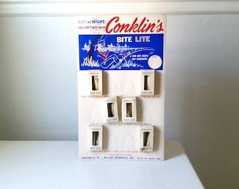 Vintage Conklin's Bite Lite Store Display with Six Vintage Conklin Bite Lites . 1950's Fishing Gear . Cottage Cabin Decor . Retro Wall Decor