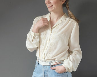 1960s Embroidered Blouse 60s Cream Blouse Elsie Whiteley Vintage Work Blouse Long Sleeve Button Front Blouse