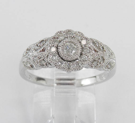 Diamond Anniversary Flower Cluster Cocktail Engagement Ring White Gold Size 7