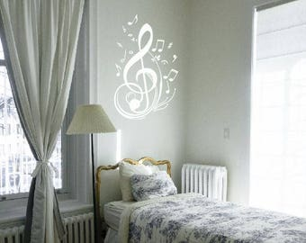 Music Clef w/ Music Notes Decals for Wall and Cars, Choir Decals, Orchestra Decals, Musician Decals, Music Lovers, Concert Gifts