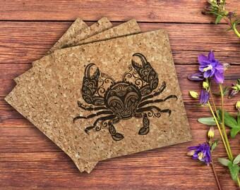 Crab Cork Coaster - 4 Pack