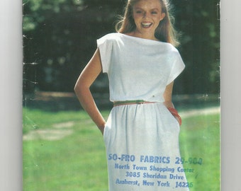 5790 See & Sew Sewing Pattern Semi Fitted Tubular Dress Size Small Vintage 1980s