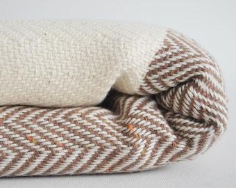SALE 30 OFF/ Herringbone Blanket / Brown / Twin XL / Bedcover, Beach blanket, Sofa throw, Traditional, Tablecloth