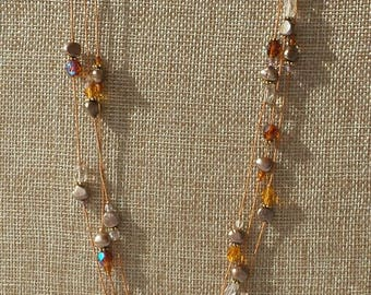 Pearl and crystal Necklace and Earring Set - One of a Kind