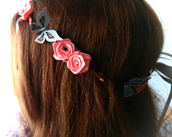 Butterfly Crown and salmon flowers