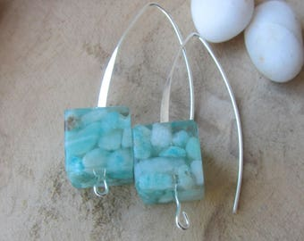 amazonite earrings, real stone earrings, amazonite jewelry, raw stone earrings, square stone earrings, resin earrings, stone jewelry for her