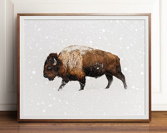 Buffalo print, Buffalo art, PRINTABLE art, Landscape print, Landscape photography, Animal print, Bison print, Bison art, Photography prints