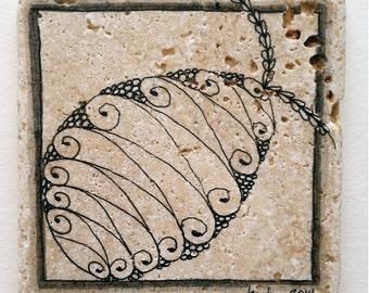 Travertine Stone Tile Coaster - Original Art - Fish