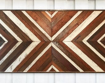"24x48"" Rustic Wood Wall Art - White & Brown. Wooden Wall Art, Geometric Wall Art, Wall Art, Reclaimed Wood Art, Modern Wall Art,"