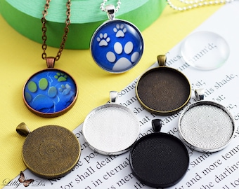 25 DIY Kits- 30mm Round Trays, Glass, and chains.  Photo Pendant Trays Cabochon kits. Vinatge-Antique Bezel Settings. Mix-N-Match 5 Colors